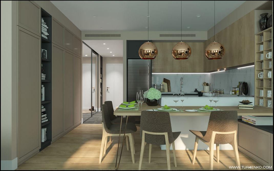 """дизайн кухни-гостиной в светлых тонах в ЖК """"Арт"""" Крост 89163172980 Дизайн интерьеров Москва"""