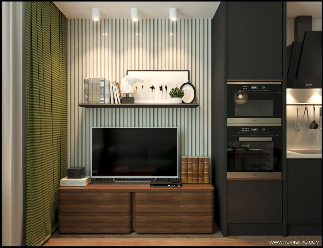 рейки в интерьере кухни-гостиной в ЖК Среда 89163172980