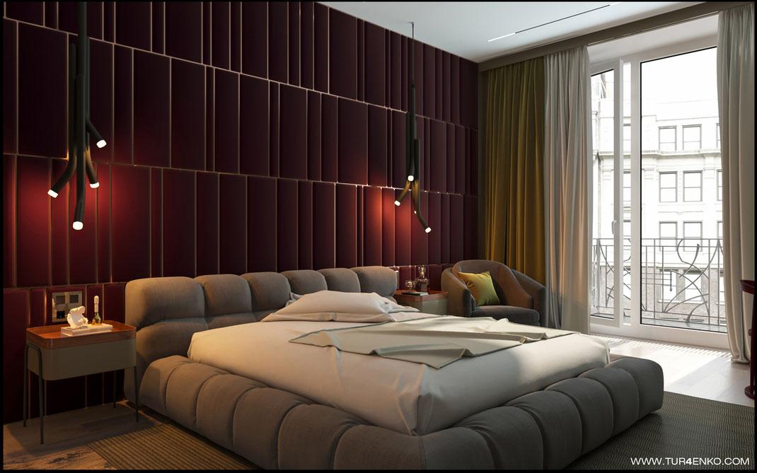 стеновые мягкие панели в интерьере спальни в ЖК Премиум квартал JAZZ 89163172980
