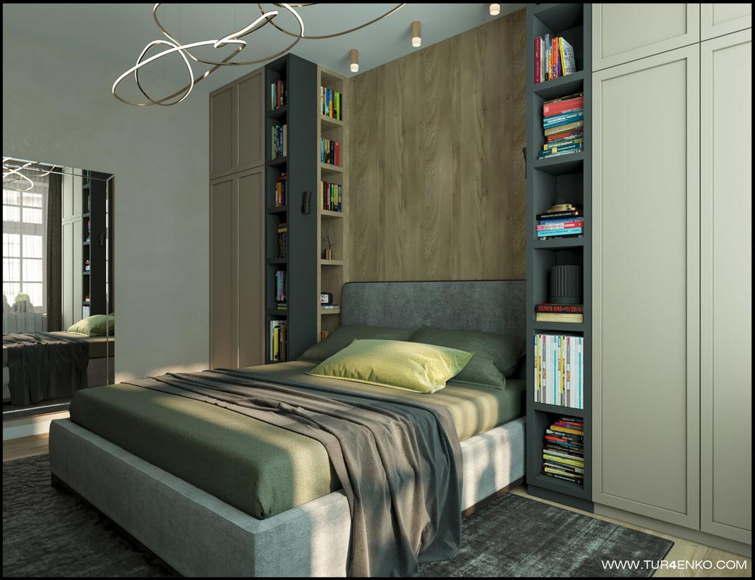 """дизайн спальни  в светлых тонах в ЖК """"Арт"""" Крост 89163172980 Дизайн интерьеров Москва"""