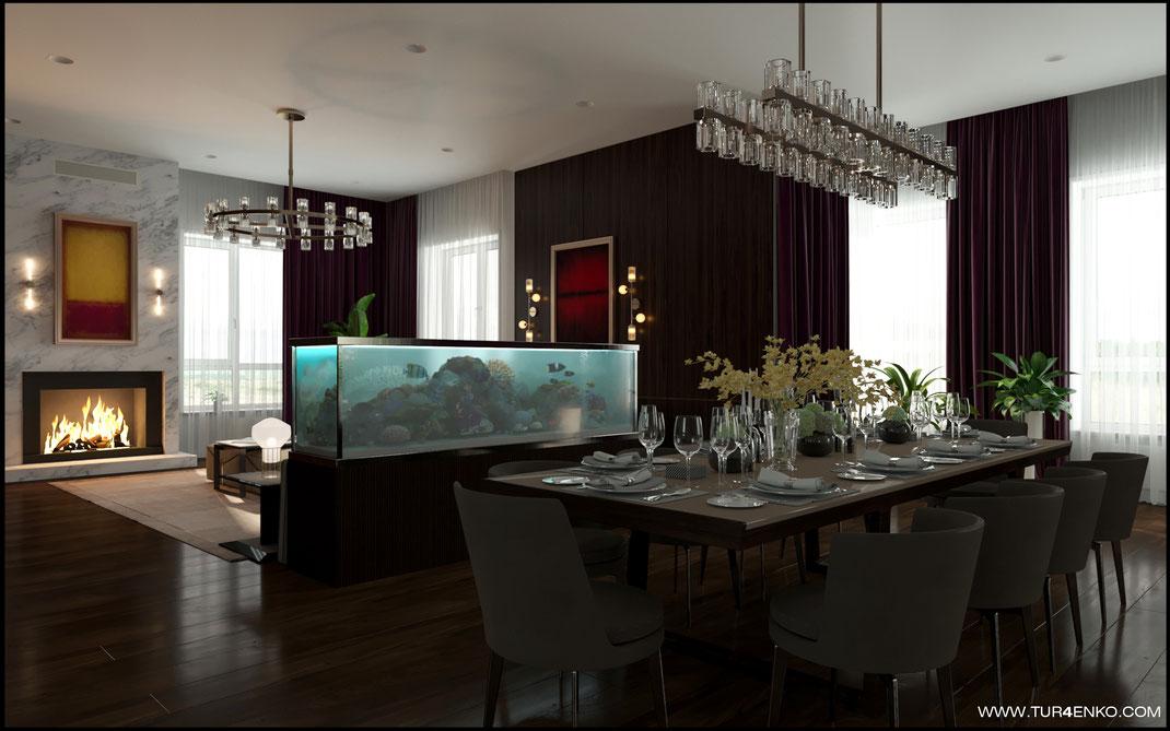 дизайн столовой-гостиной с аквариумом и камином в современном стиле в загородном доме 89163172980
