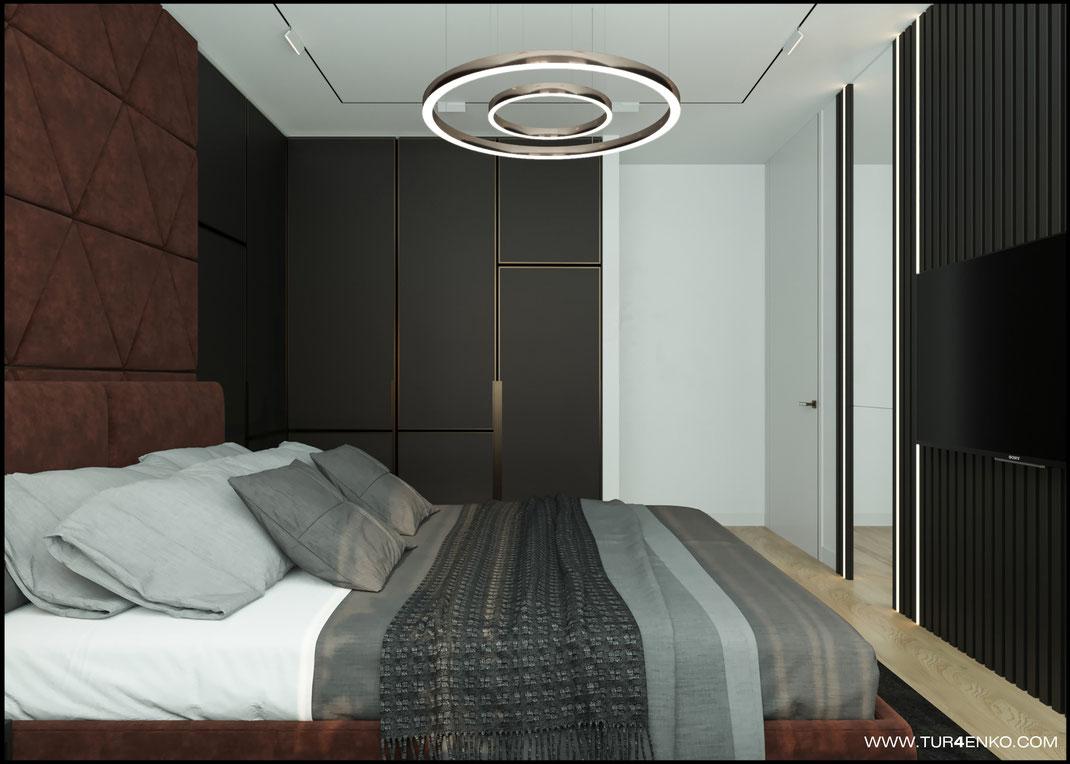 """дизайн спальни в современном стиле в ЖК """"Савеловский сити"""" 89163172980"""