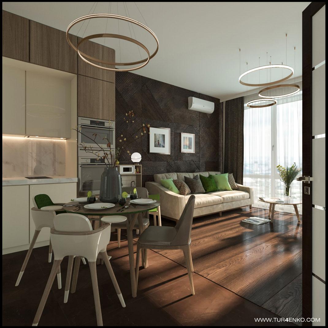 дизайн объединенной кухни-гостиной в ЖК LIFE Кутузовский 89163172980