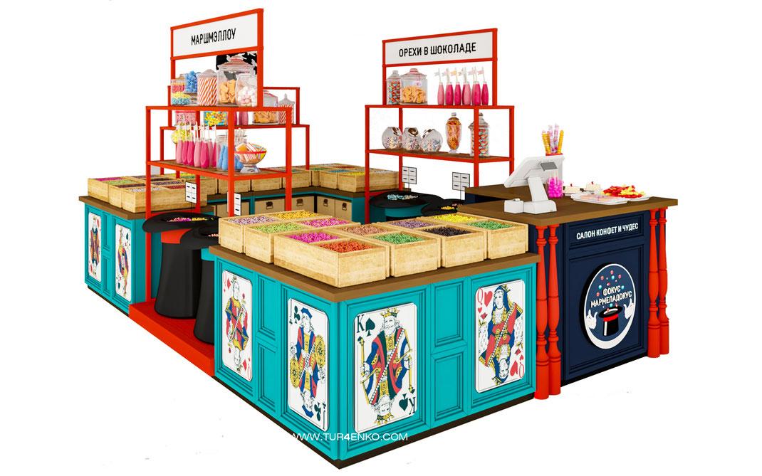 дизайн торгового острова для магазина сладостей и конфет Фокус Мармеладокус 89163172980