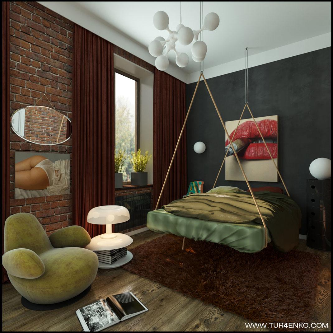 "дизайн спальни в стиле лофт в ЖК ""Арт"" Крост 89163172980"