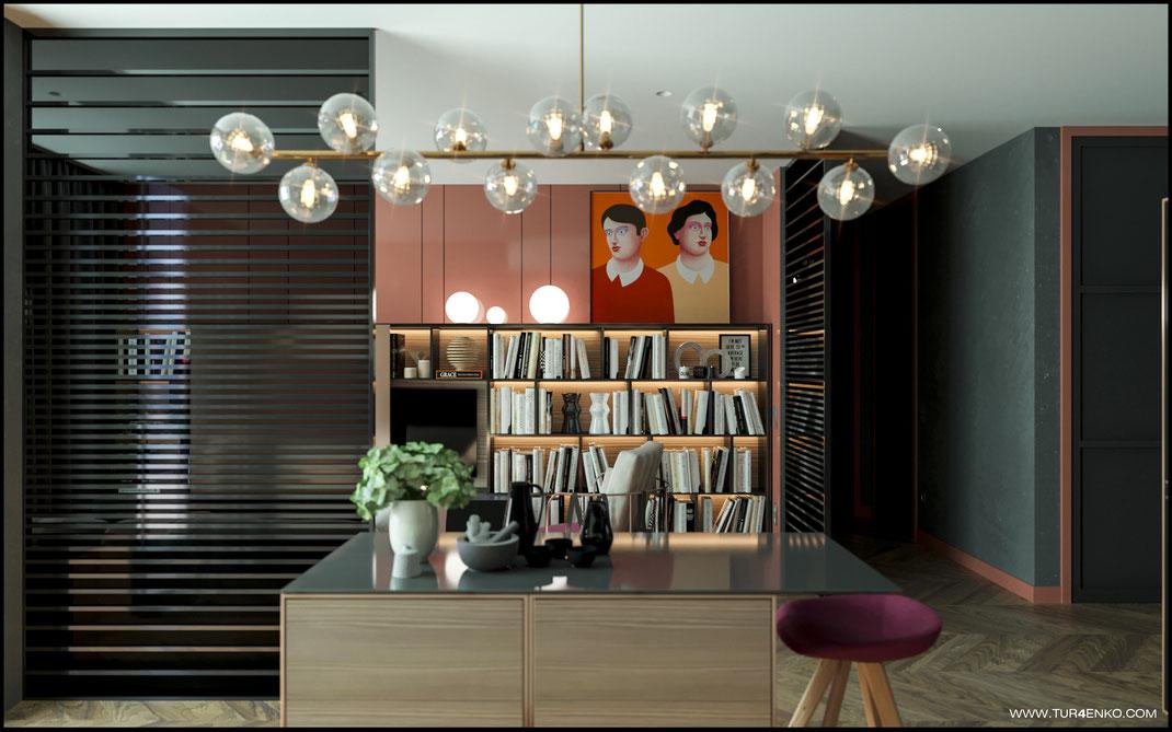 3 дизайн кухни-гостиной в стиле contemporary в ЖК Зиларт 89163172980