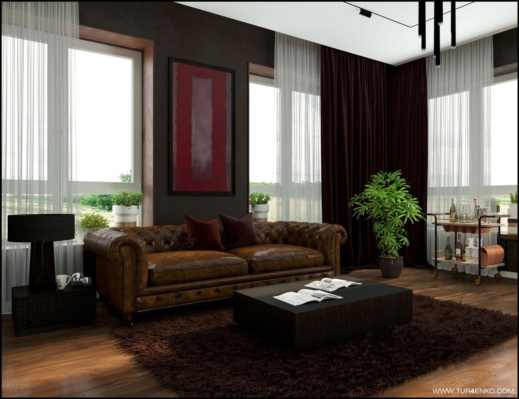 дизайн кабинета в современном стиле  в загородном доме 89163172980