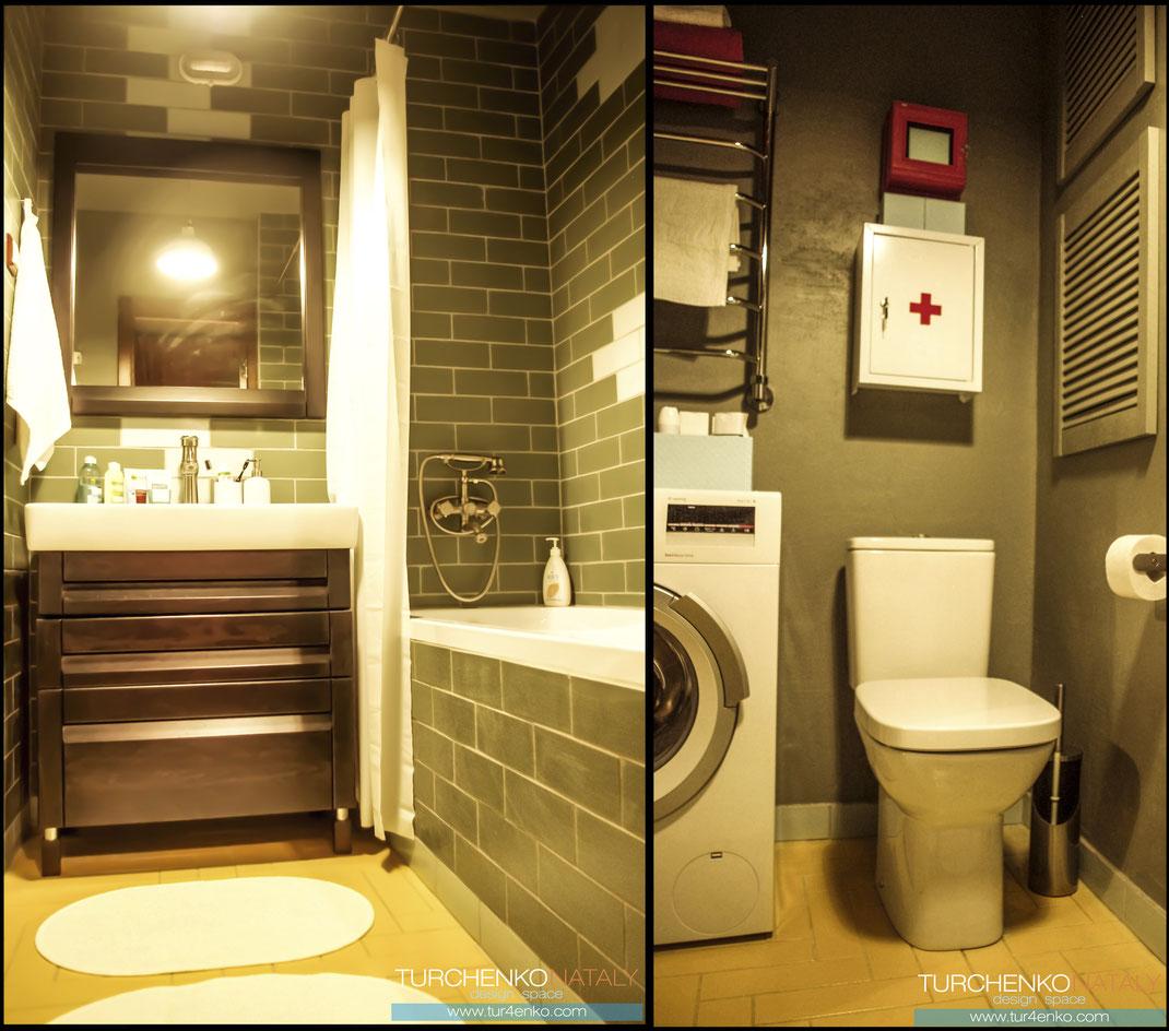 Дизайн ванной комнаты в стиле лофт Москва