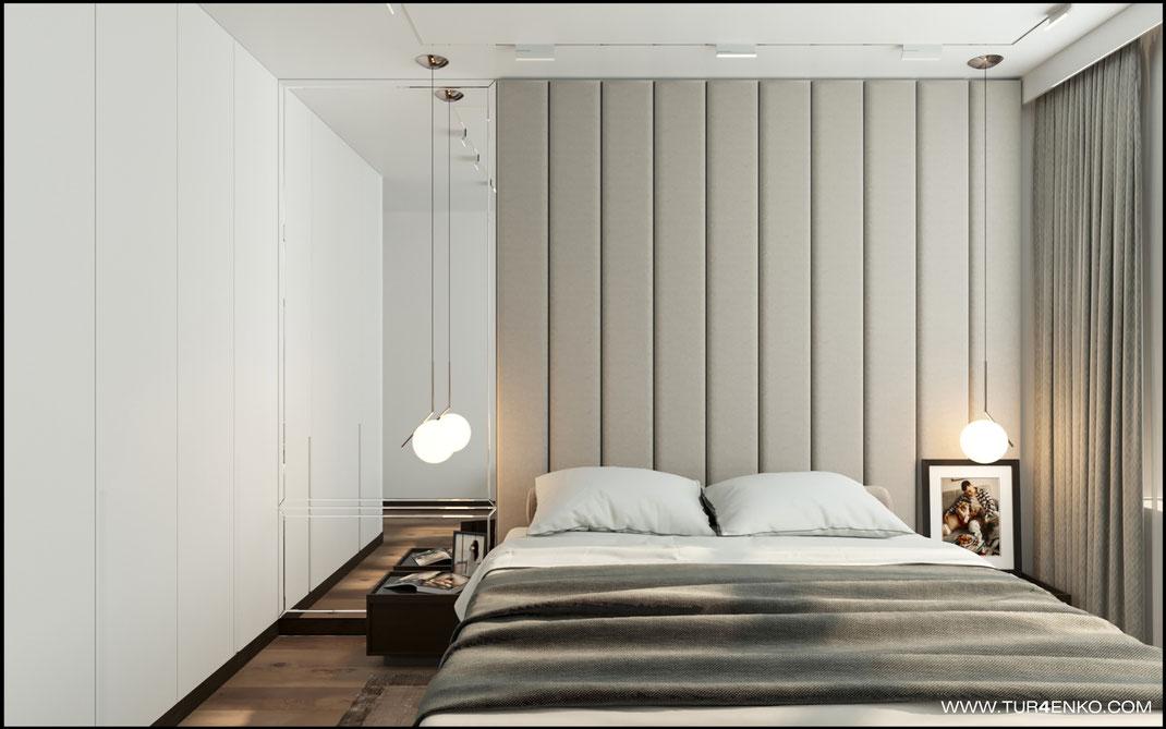стеновые тканевые мягкие панели вместо изголовья кровати в ЖК Триколор 89163172980