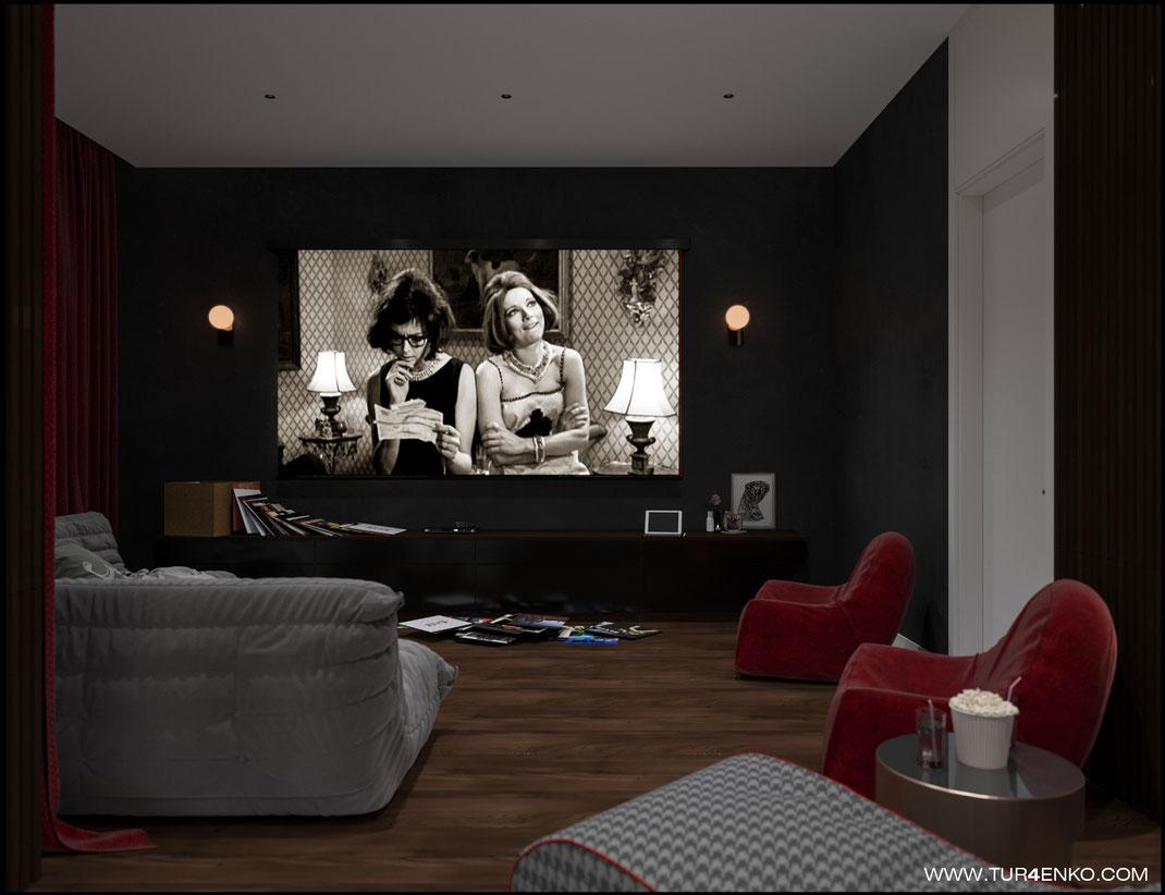 дизайн домашнего кинозала в жилом доме в КП Чистые пруды 89163172980