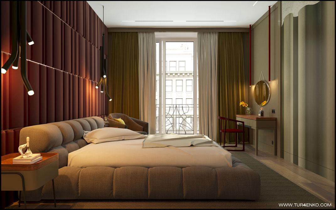 элементы стиля midcentury modern в дизайне спальни в ЖК Премиум квартал JAZZ 89163172980