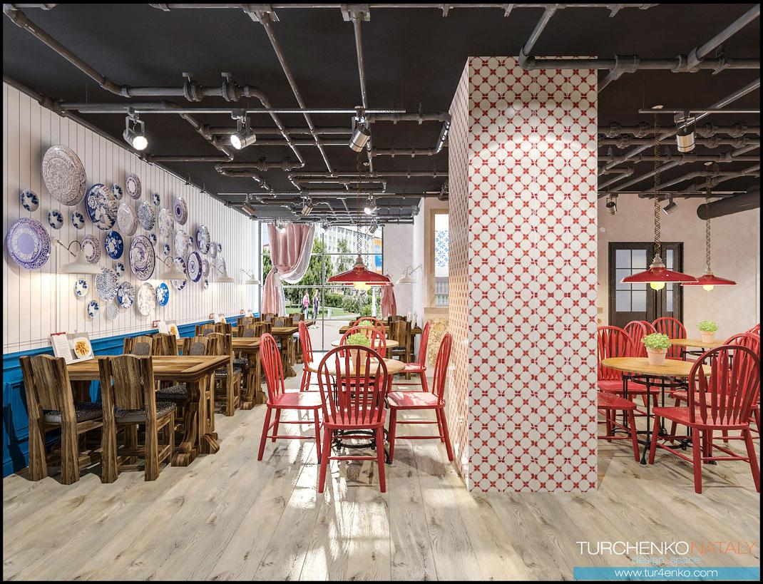 Заказать дизайн кафе в русском стиле