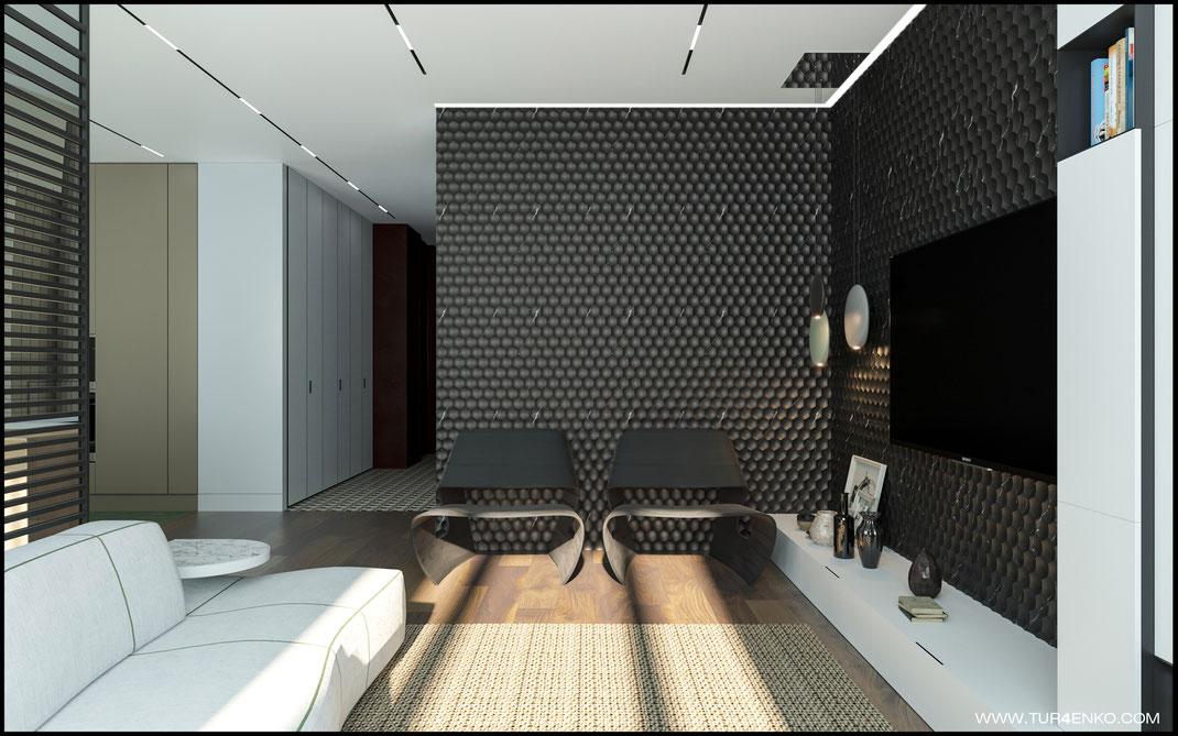 3д панели в интерьере гостиной в ЖК Премиум квартал JAZZ 89163172980