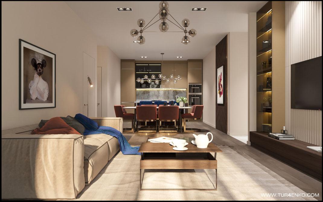стильный дизайн объединенной кухни-гостиной в ЖК Триколор 89163172980