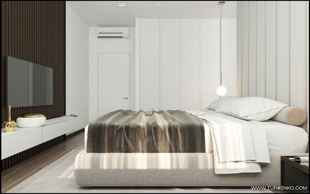 деревянные рейки в отделке спальни в ЖК Триколор 89163172980
