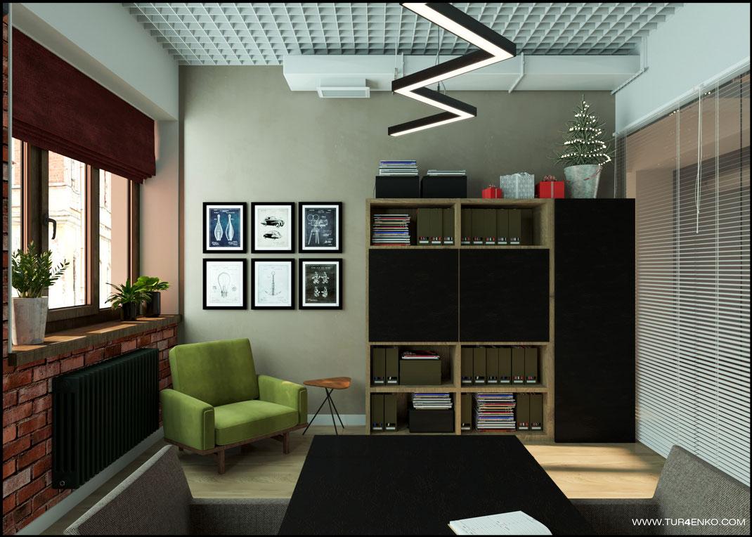 дизайн офисного пространства в стиле лофт Москва 89163172980