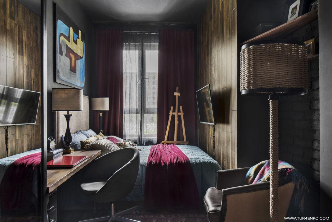 дизайн спальни в стиле лофт  в темных тонах 89163172980