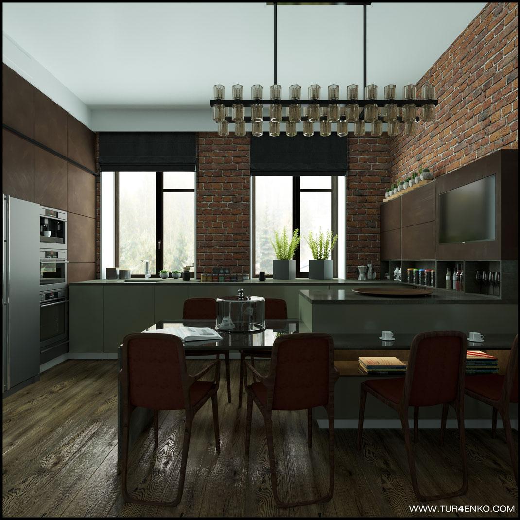 """дизайн кухни в стиле лофт в ЖК """"Арт"""" Крост 89163172980"""