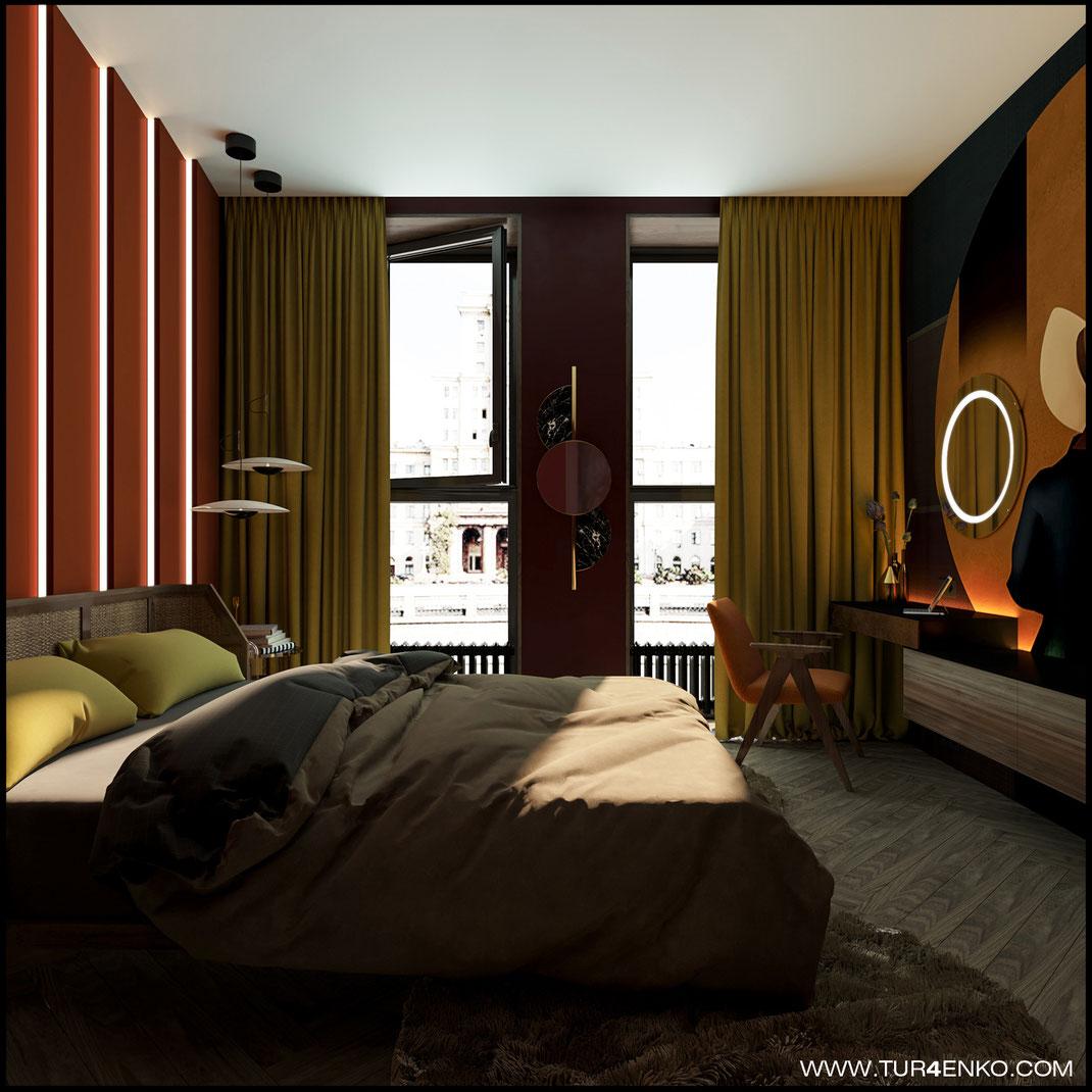 дизайн спальни в современном стиле в ЖК BAUMAN HOUSE 89163172980