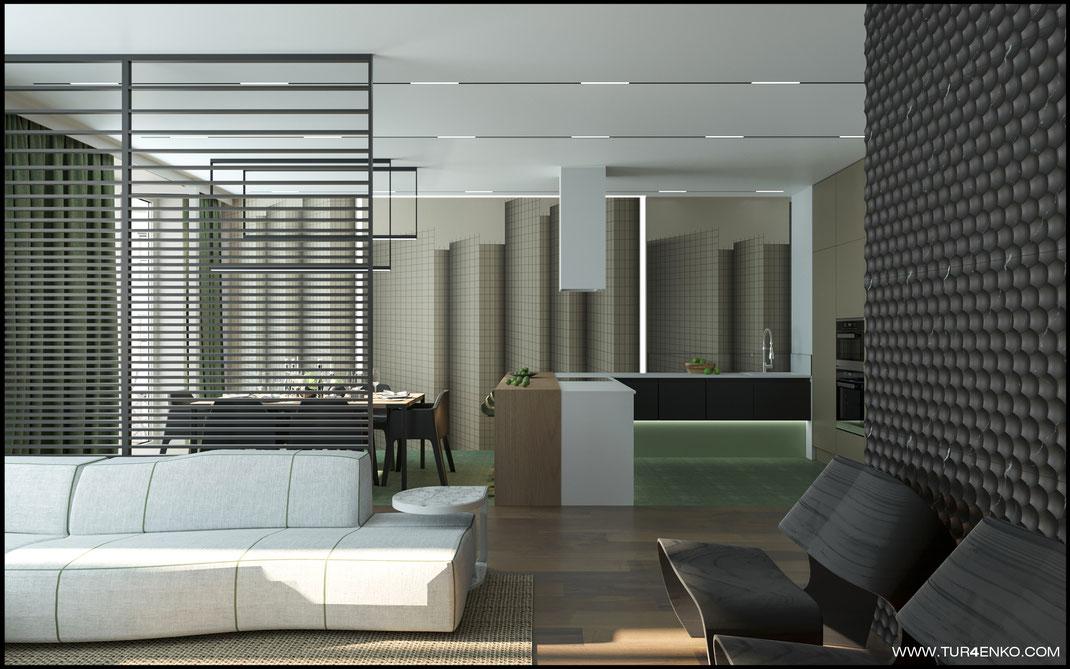 зонирование кухни-гостиной стеклянными перегородками в ЖК Премиум квартал JAZZ 89163172980
