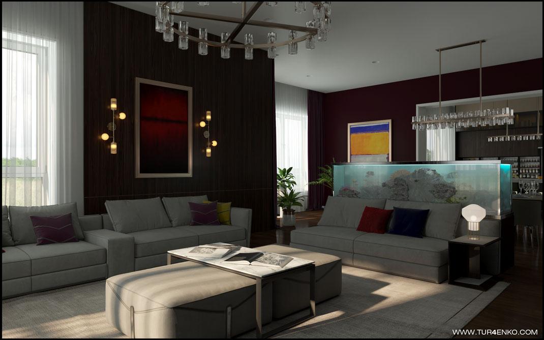 дизайн гостиной в современном стиле с большим аквариумом  в загородном доме 89163172980