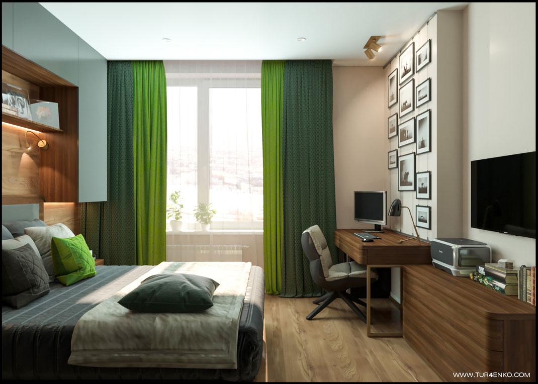 спальня с яркими акцентами в ЖК Среда 89163172980