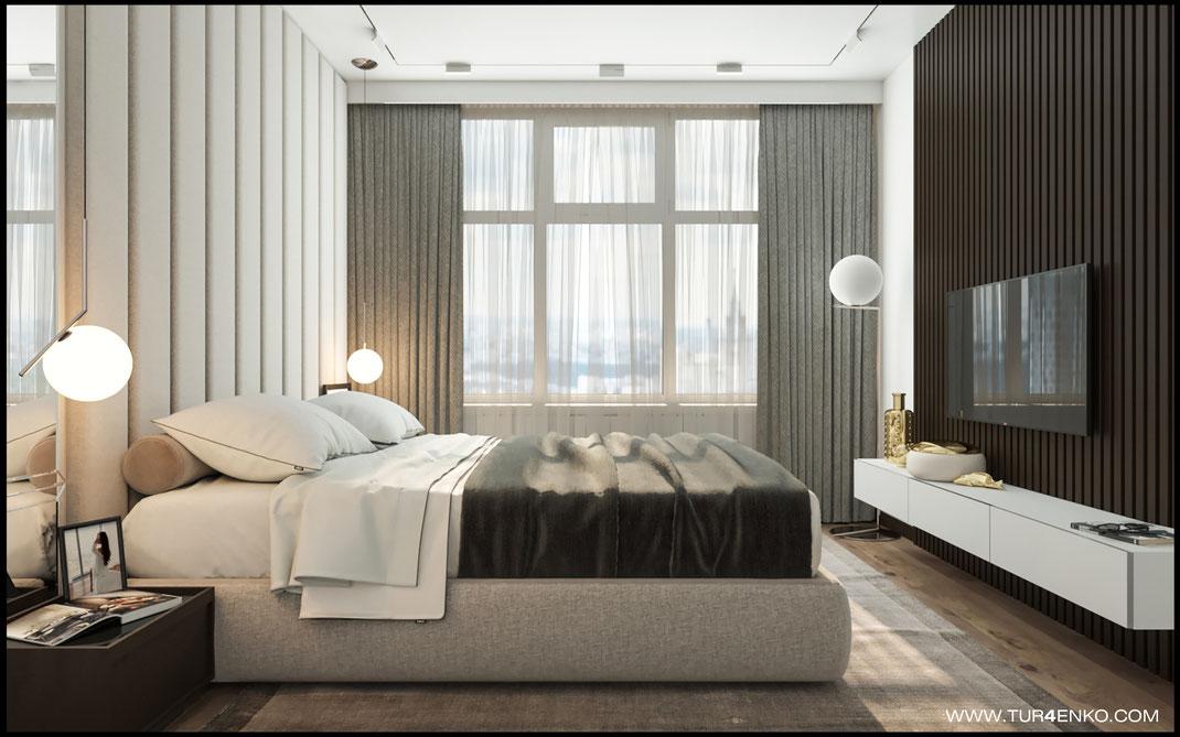 дизайн спальни в спокойных тонах в ЖК Триколор 89163172980