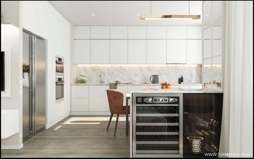 дизайн кухни-гостиной в ЖК Летний сад 89163172980 www.tur4enko.com