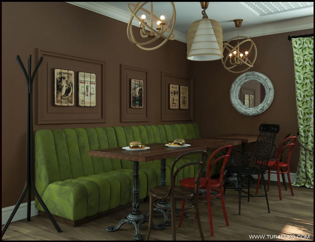дизайн ресторана в стиле лофт  89163172980 Турченко Наталия