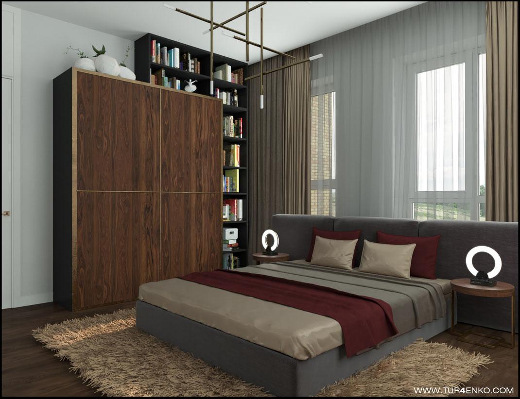 дизайн гостевой комнаты (спальни)  в загородном доме 89163172980