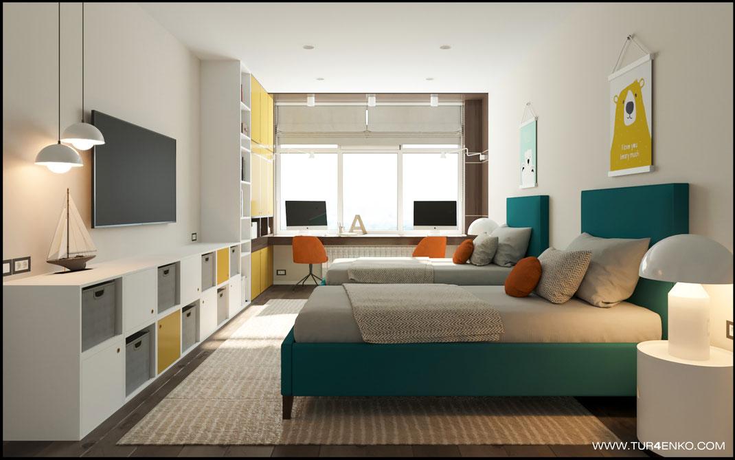 яркий дизайн детской комнаты в ЖК Триколор 89163172980