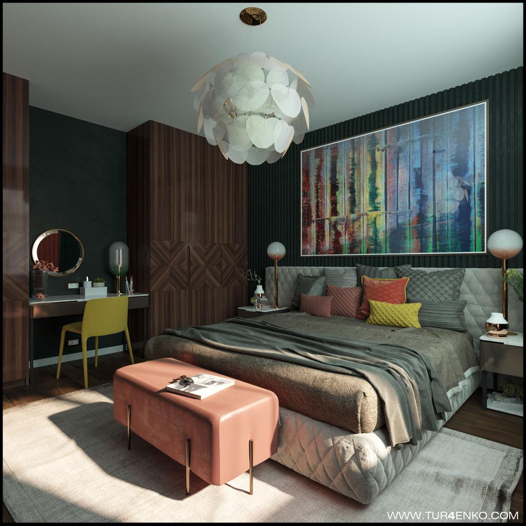 """дизайн спальни  с яркими акцентами в ЖК """"Арт"""" Крост 89163172980 Дизайн интерьеров Москва"""
