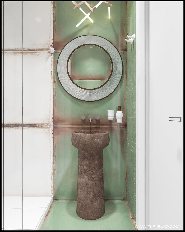 необычная плитка в интерьере ванной комнаты в ЖК Премиум квартал JAZZ 89163172980