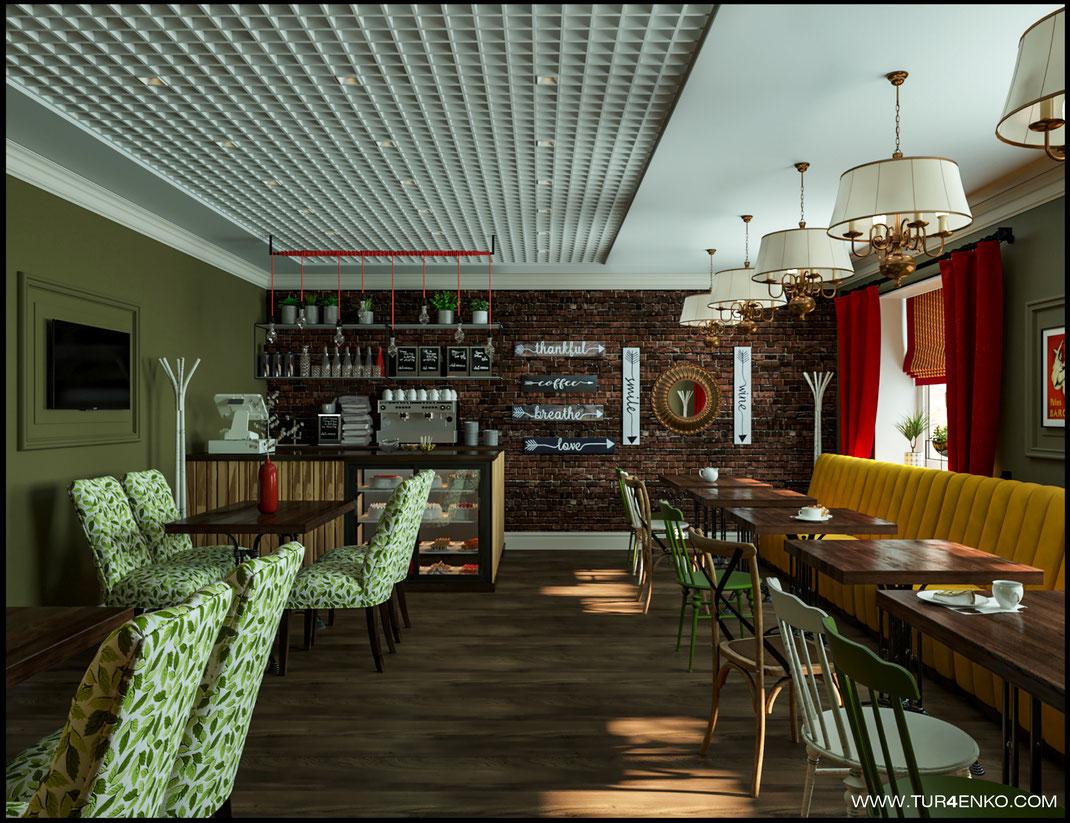 дизайн кафе в стиле лофт  89163172980 Турченко Наталия
