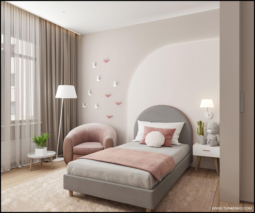 дизайн детской комнаты для девочки  89163172980 www.tur4enko.com.com