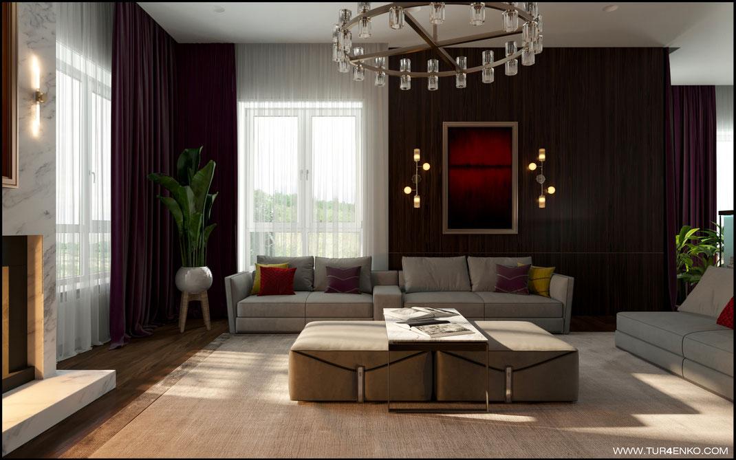 дизайн гостиной в современном стиле с дровяным камином  в загородном доме 89163172980