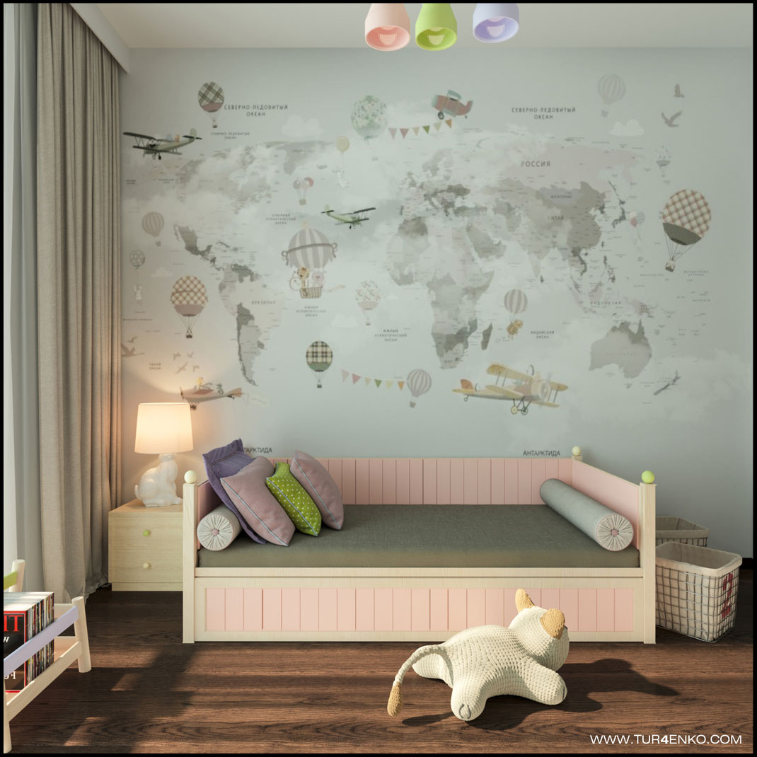 детские обои с картой мира в интерьере детской комнаты в ЖК ЛАЙФ Кутузовский 89163172980