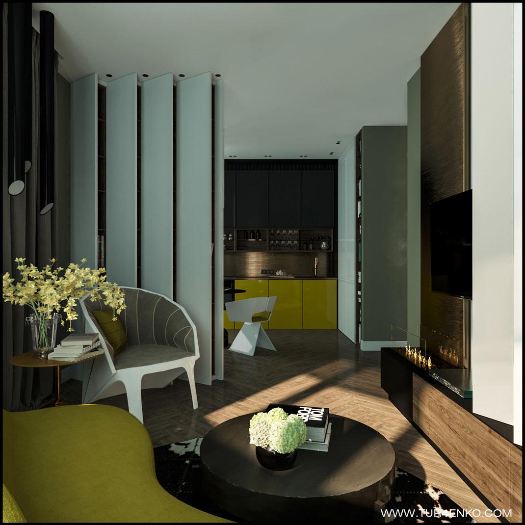 дизайн гостиной в современном стиле в ЖК BAUMAN HOUSE 89163172980