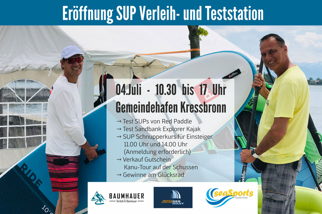 Baumhauer Outdoorsport - Eröffnung Sup Verleih und Testcenter in Kressbronn