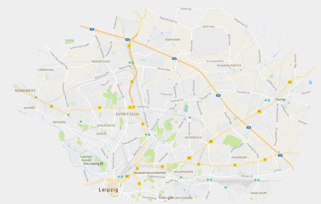 Einzugsgebiet der Hebamme in Leipzig