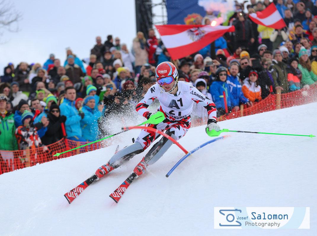 Bild zeigt Marco Schwarz Slalom Kitzbühel 2016 2. DG.©SEPA.Media / Josef Salomon