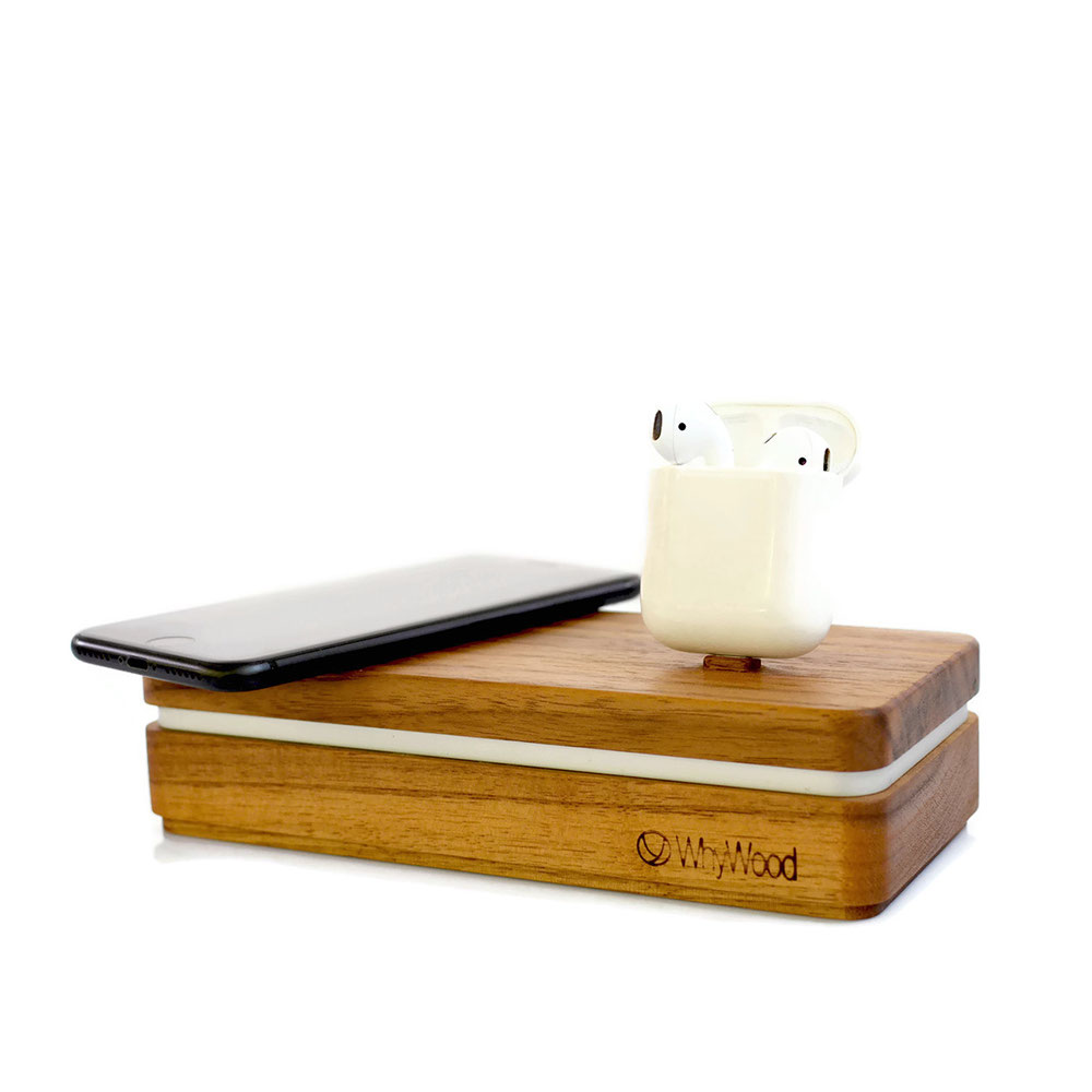 Qi & Lightning- Charging Station für das iPhone 5 bis iPhoneXs, AirPods, Apple Tv Fernbedienung, BeatsX, Samsung Galaxy S6, S7,