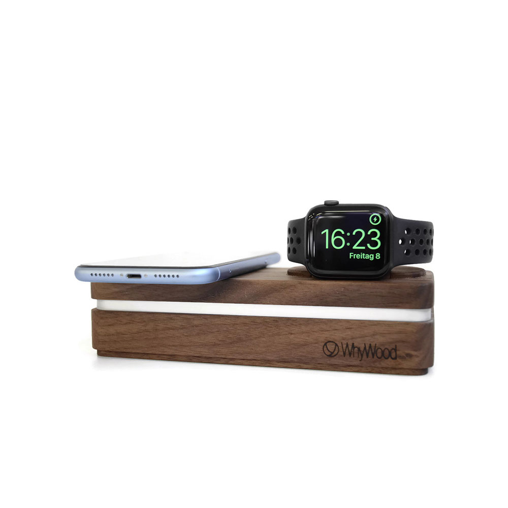 Dockit W2 in Nussbaum Massivholz - Qi & Apple Watch Charging Station für das iPhone 8, iPhoneX, alle Apple Watch Modelle und alle Qi- kompatiblen Smartphones.