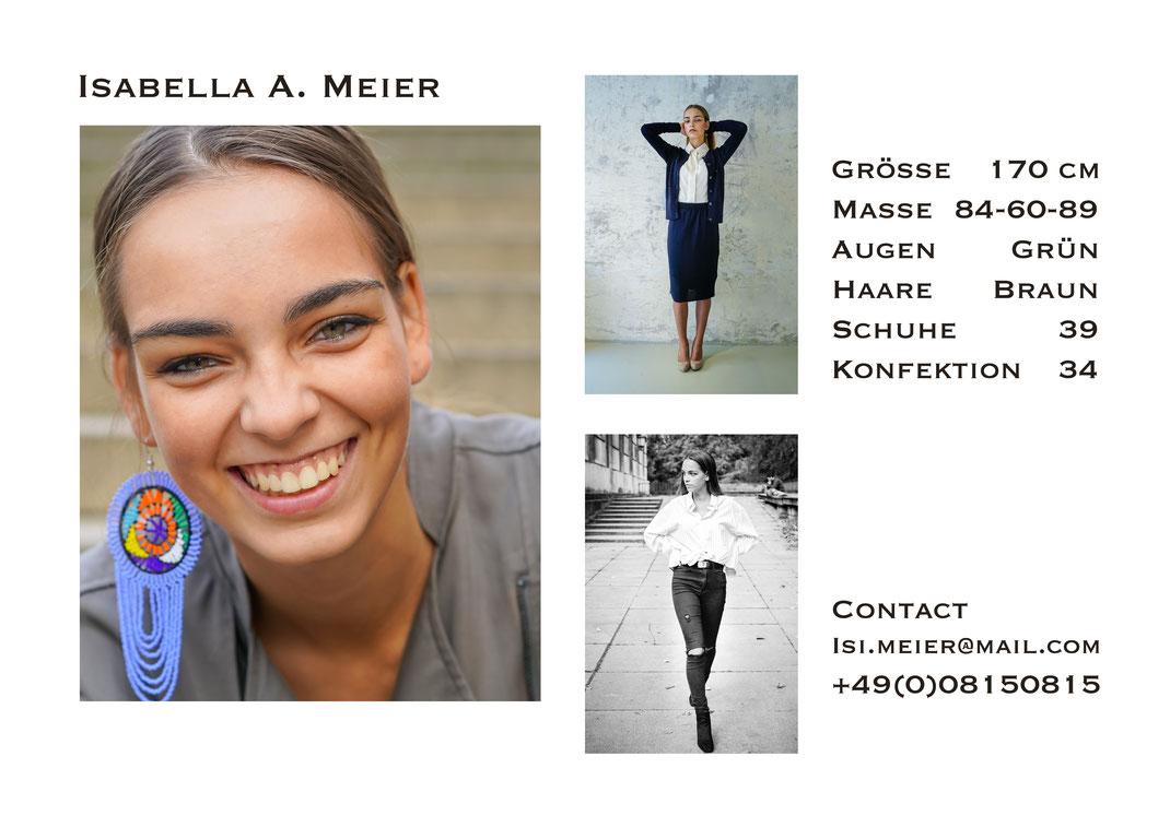 Beispiel Sedcard von Model Isi A. Meier