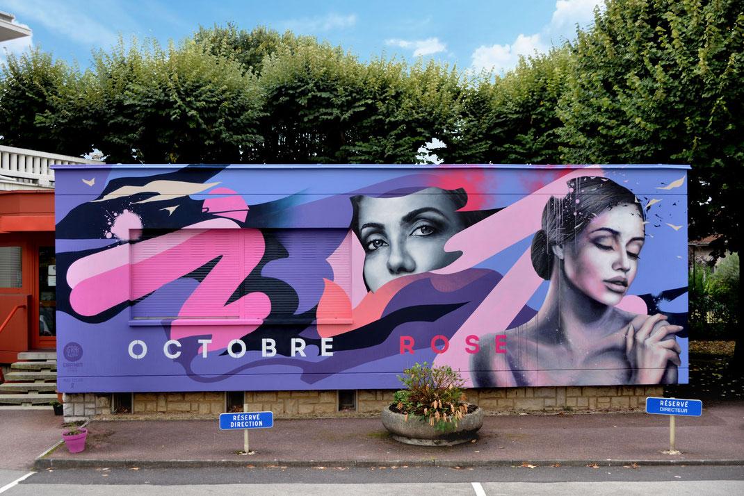 Octobre Rose fresque murale artistique streetart hopital aix les bains savoie centre hospitalier rhone-alpes peinture murale graffiti art artiste chambéry lyon campagne dépistage lutte contre le cancer du sein ruban rose