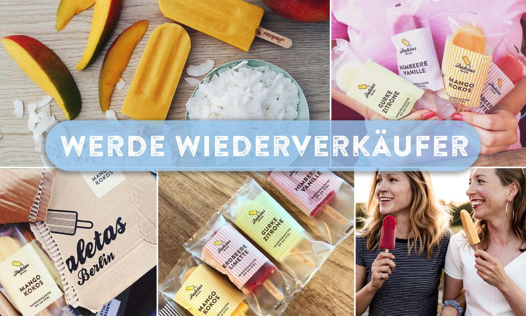 Eis am Stiel Mango Kokos Paletas Popsicles frisch vom Hersteller aus der Manufaktur. Miet dir deine Eistruhe für den Wiederverkauf von Stieleis Paletas Berlin. Eis online bestellen schnell und unkompliziert.