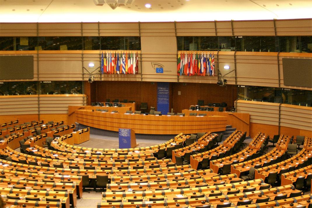 Abwesenheit heißt Zustimmung: das EU-Parlament in Brüssel. Dank des viel kleineren wallonischen Parlaments, wird jetzt tatsächlich EU-weit über CETA diskutiert. (Foto: Thomas Klotz)