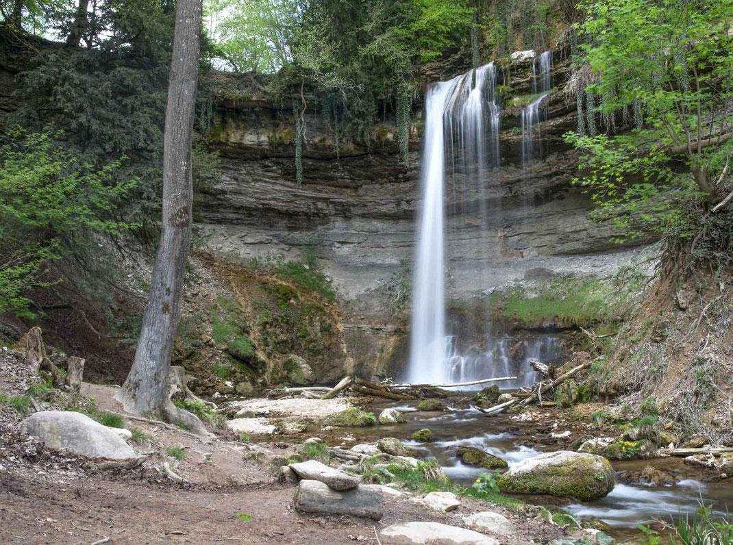 Cascade du Dard im Tal der Nozon Kanton Vaud Schweiz