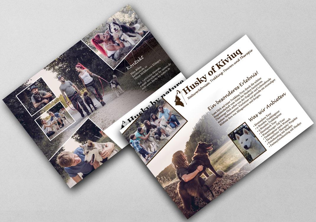 Gestaltung, Design, Designerin, Werbung, Printdesign, Flyer, Werbung, Werbematerial, Huskywanderung, Husky od Kiviuq, Hunde, Husky, Werbung, Naturerlebnisse