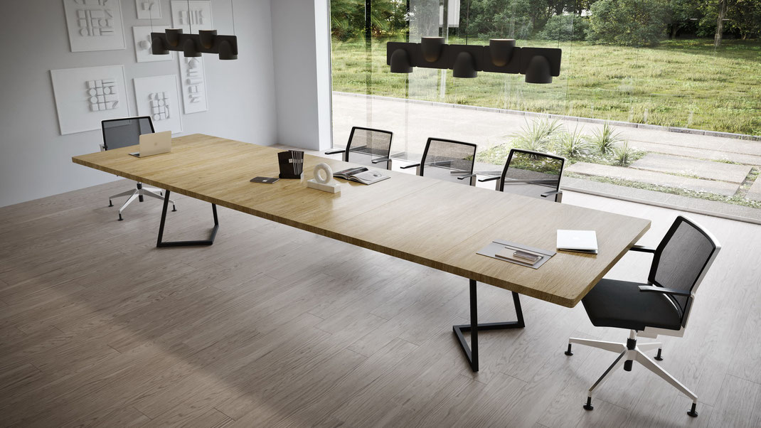 IGN MEET Tisch Konferenztisch, flexibles Tisch System, Tischplatte Eiche 40 mm dick, 70 cm Elemente, Untergestell Stahl